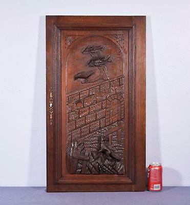 *French Antique Deeply Carved Architectural Panel Door Solid Oak w/Fox and Crow