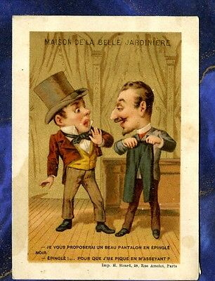 chromo BELLE JARDINIERE TAILLEUR TAILOR FASHION SICARD Caricature Old Trade Card