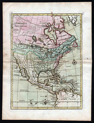 1767 America continent United States map Kupferstich antique print Le Rouge
