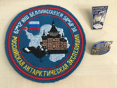 Russian badge, patch. Arctic, Antarctic expedition, North Pole. Lot of 3
