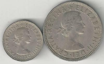 2 DIFFERENT COINS from GREAT BRITAIN - 6 PENCE & 2 SHILLINGS (BOTH DATING 1965)