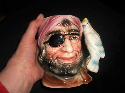 """Vintage Toby Jug Bond Ware Pirate With Eye Patch And Cockatiel Handle A 4995 5"""""""
