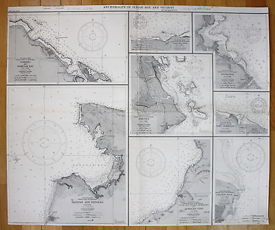 1944 Anchorages Iligan Bay Vicinity Plaridel Inamucan Dapitan Philippine map