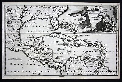 1735 - Florida Mexico West Indies Cuba America Caribbean engraving Ratelband map