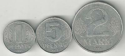 3 COINS from EAST GERMANY - 1 & 5 PFENNIG and 2 MARKS (ALL DATING 1975)