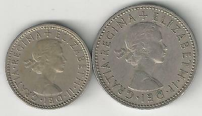 2 OLDER COINS from GREAT BRITAIN - 6 PENCE & 1 SHILLING (BOTH DATING 1956)