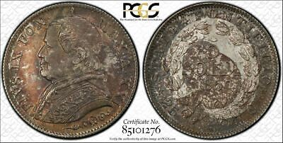 1867-R Papal States 5 Soldi PCGS MS63 Lot#G780 Silver! Choice UNC Example!