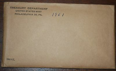 1961 U. S. PROOF SET. The envelope containing the set is sealed/unopened