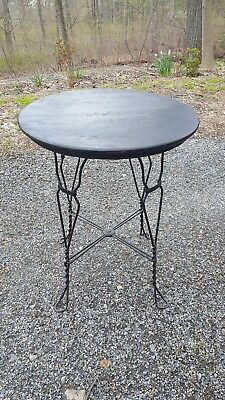 Antique Ice Cream Table Parlor Oak Top Bent Metal Legs