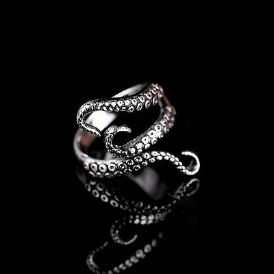 Women Fashion Gothic Punk Adjustable Tibetan Silver Octopus Finger Ring Jewelry