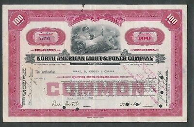 1940 North American Light & Power Company Stock Certificate