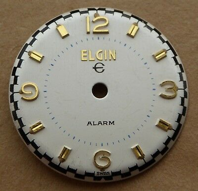 Vintage Elgin Alarm watch dial, good condition, 28.6 mm, 2 prongs. Lot number 1.