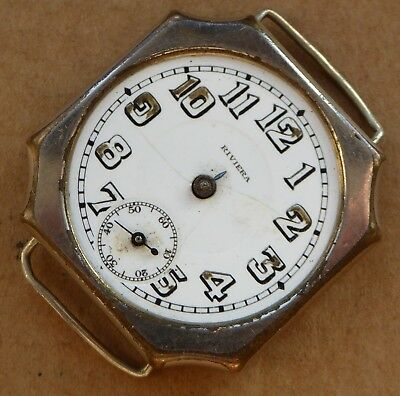 Large Riviera angled trench watch for repair, incomplete, 34mm case.