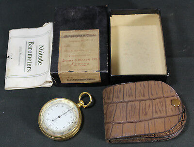 Antique Tycos Short & Mason 2021 London Pocket Altitude Barometer in Box w/ Case
