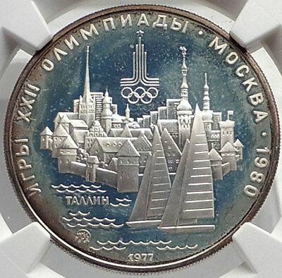 1980 MOSCOW Russia Olympics 1977 Silver 5 Rouble Coin TALLINN SAILING NGC i69120