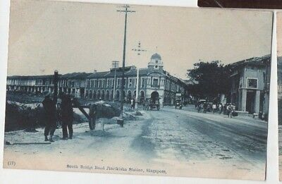 Old Postcard South Bridge Road Jinrikisha Station Singapore Malaya Vintage C1910