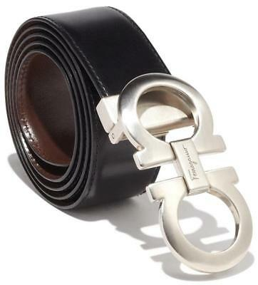 New Salvatore Ferragamo Current Gancini Satin Buckle Reversible Leather Belt