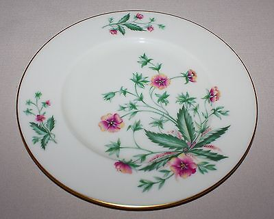 4 Lenox Country Garden Salad Plates Pink Flowers Ivory Gold