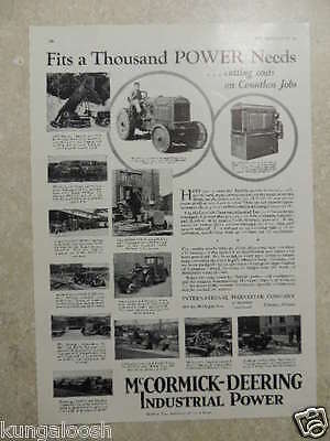 1930 McCORMICK-DEERING INDUSTRIAL POWER INTERNATIONAL HARVESTER CO VINTAGE AD