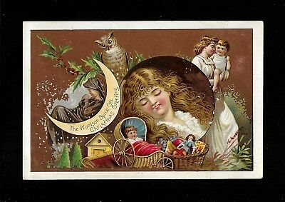 Rosy-Cheeked Girl Dreams of Christmas Delights-1890s Victorian Trade Card