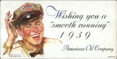Norman Rockwell American Oil Co Amoco Ink Blotter 1939 3x5.75