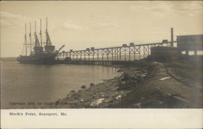 Searsport ME Schooner Ship at Mack's Point c1905 Real Photo Postcard
