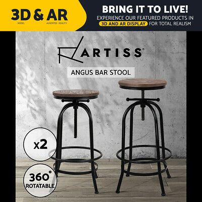 2x Rustic Bar Stools Angus Retro Barstool Industrial Dining Chairs Kitchen Round