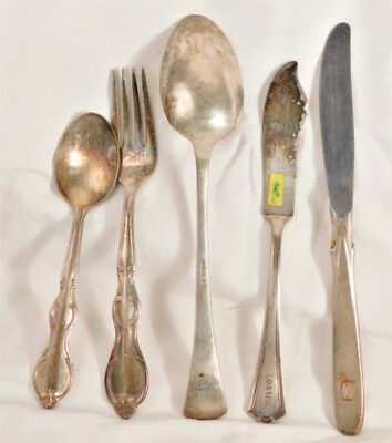 NAMES & INITIALS ON  'SOILED  FLATWARE'   (LOT # 1   -- 5 pcs. )