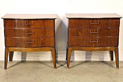 Pair Danish mid century bedside chests cabinets tables Art Deco 1950's originals