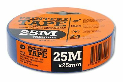 Premium 25mm x 25 Metre Blue Masing Painters Tape Paint Bleed Sharp Lines Walls