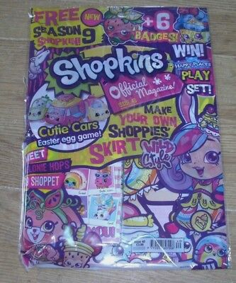 Shopkins magazine comic Issue #40 + Season 9 Shopkin Toy & 6 Badges