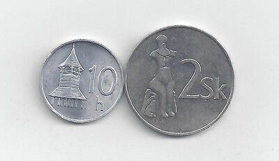 2 DIFFERENT COINS from SLOVAKIA - 10 HALERIOV & 2 KORUN (BOTH DATING 1993)