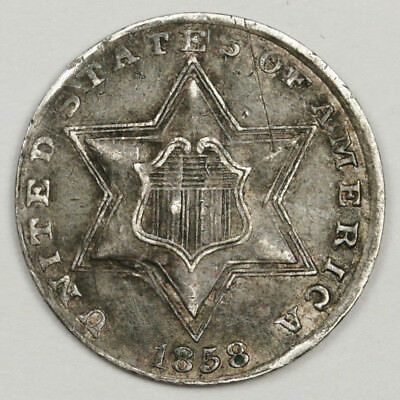 1858 3 Cent Silver.  Natural X.F. Detail.  123816