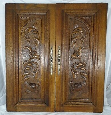 Antique French Pair Gothic Carved Oak Wood Doors Panels - Chimera