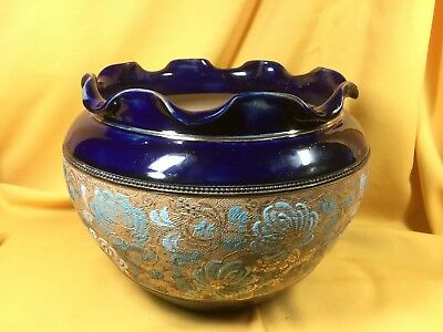 Antique Royal Doulton Lambeth Cobalt Blue Bowl with Tapestry White Flower Band