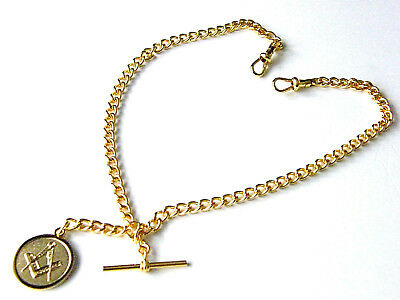 Quality Masonic Badge Double Albert Pocket Watch Chain Yellow Gold Tone