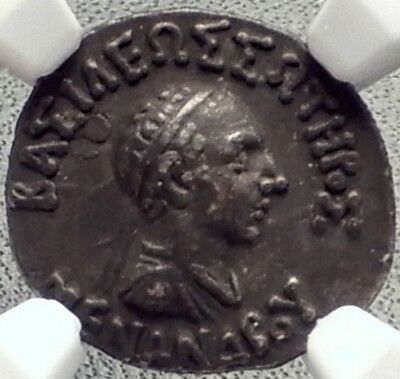 MENANDER Indo Greek India BUDDHIST King Ancient Silver Coin ATHENA NGC  i69137