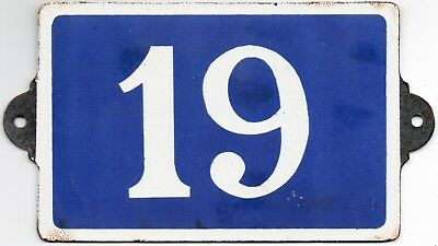 Old blue French house number 19 door gate plate plaque enamel metal sign c1970