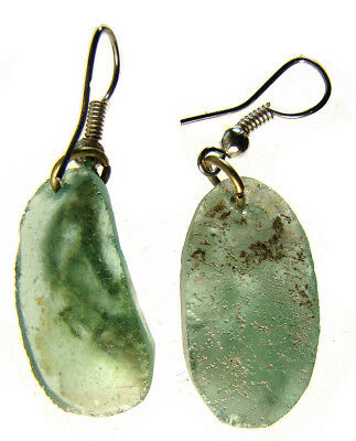 Roman Glass Pair of Earrings with Stainless Steel Loops