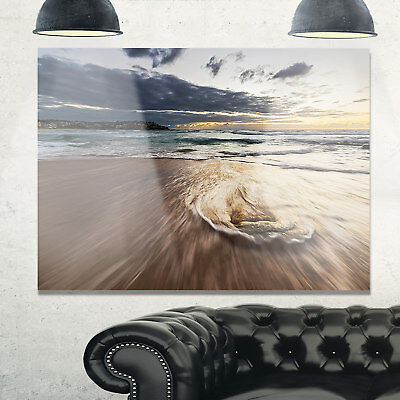 Morning with Playful Surf and Pleasant Sky - Contemporary Seascape Glossy Metal