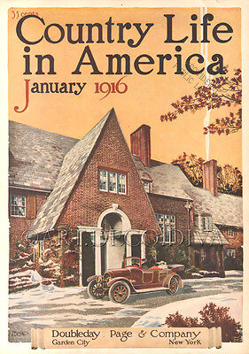 Antique 1916 Brick House AUTO Car Automobile Art Nouveau Magazine Cover Art