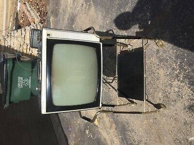 Vintage RCA victor black white case TV on cart time capsule estate find parts