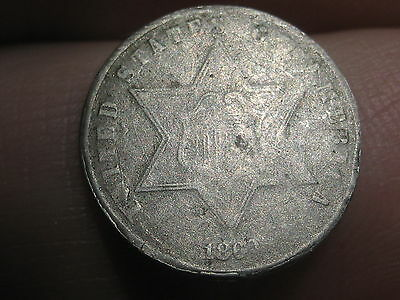 1860 Three 3 Cent Silver Coin- Scarce Date