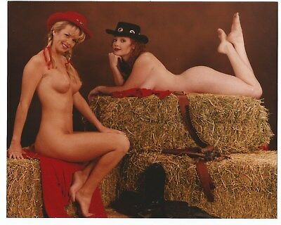 """Original Vintage Nude Photograph, 8"""" x 10"""", Two Nude Girlfriends, Cowgirls"""