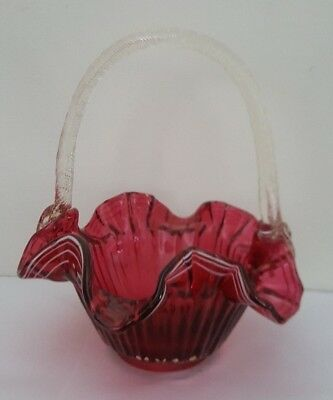 Cranberry Glass Ruffled Glass Basket - Fenton