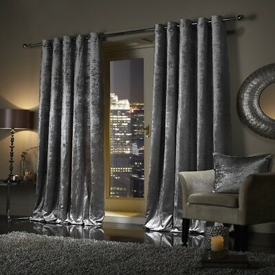 SILVER GREY Crushed Velour Faux Velvet Pencil Pleat / Eyelet Ring Top Curtains