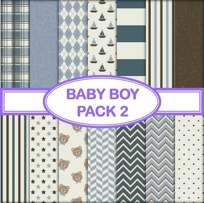 BABY BOY PACK 2 SCRAPBOOK PAPER - 14 x A4 pages