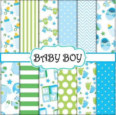 BABY BOY SCRAPBOOK PAPER - 12 x A4 pages