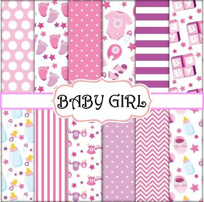 BABY GIRL SCRAPBOOK PAPER - 12 x A4 pages
