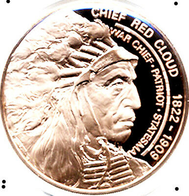 Native American Indian Chief Red Cloud Beautiful Vintage Proof Bronze Medal